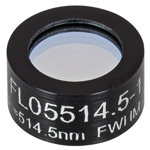 FL05514.5-1 - Ø1/2in Laser Line Filter, CWL = 514.5 ± 0.2 nm, FWHM = 1 ± 0.2 nm