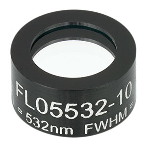 FL05532-10 - Ø1/2in Laser Line Filter, CWL = 532 ± 2 nm, FWHM = 10 ± 2 nm
