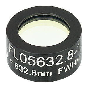 FL05632.8-10 - Ø1/2in Laser Line Filter, CWL = 632.8 ± 2 nm, FWHM = 10 ± 2 nm