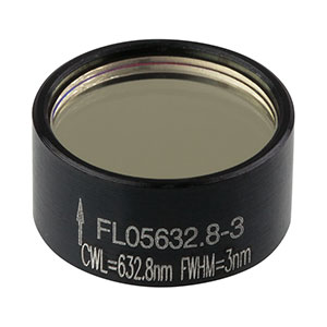 FL05632.8-3 - Ø1/2in Laser Line Filter, CWL = 632.8 ± 0.6 nm, FWHM = 3 ± 0.6 nm