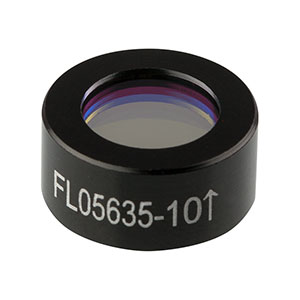 FL05635-10 - Ø1/2in Laser Line Filter, CWL = 635 ± 2 nm, FWHM = 10 ± 2 nm