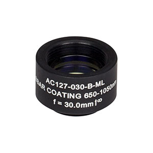 AC127-030-B-ML - f=30 mm, Ø1/2in Achromatic Doublet, SM05-Threaded Mount, ARC: 650-1050 nm