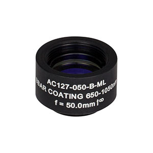 AC127-050-B-ML - f=50 mm, Ø1/2in Achromatic Doublet, SM05-Threaded Mount, ARC: 650-1050 nm