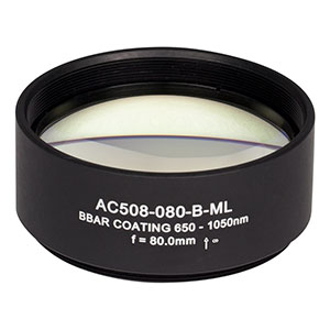 AC508-080-B-ML - f=80 mm, Ø2in Achromatic Doublet, SM2-Threaded Mount, ARC: 650-1050 nm