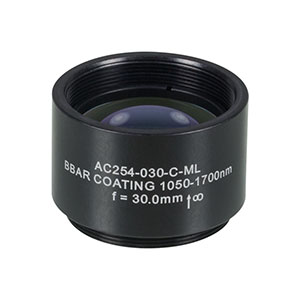 AC254-030-C-ML - f=30 mm, Ø1in Achromatic Doublet, SM1-Threaded Mount, ARC: 1050-1620 nm