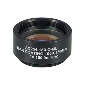 AC254-150-C-ML - f=150 mm, Ø1in Achromatic Doublet, SM1-Threaded Mount, ARC: 1050-1620 nm