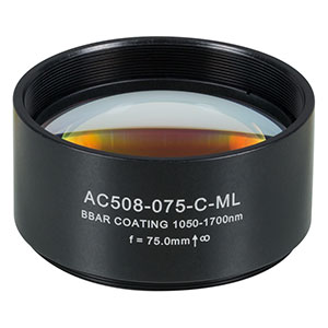 AC508-075-C-ML - f=75 mm, Ø2in Achromatic Doublet, SM2-Threaded Mount, ARC: 1050-1620 nm