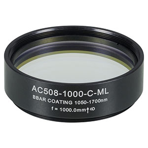AC508-1000-C-ML - f=1000 mm, Ø2in Achromatic Doublet, SM2-Threaded Mount, ARC: 1050-1700 nm
