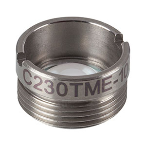 C230TME-1064 - f = 4.55 mm, NA = 0.55, Mounted Geltech Aspheric Lens, AR: 1064nm