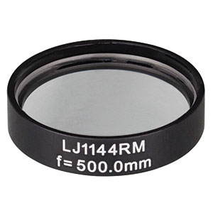 LJ1144RM - f = 500.0 mm, Ø1in, N-BK7 Mounted Plano-Convex Round Cyl Lens