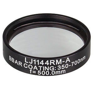 LJ1144RM-A - f = 500.0 mm, Ø1in, N-BK7 Mounted Plano-Convex Round Cyl Lens, ARC 350-700