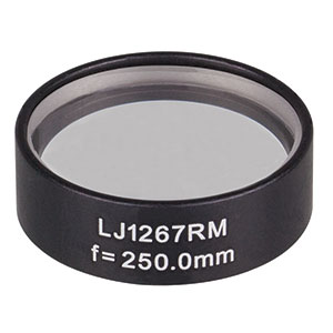 LJ1267RM - f = 250.0 mm, Ø1in, N-BK7 Mounted Plano-Convex Round Cyl Lens