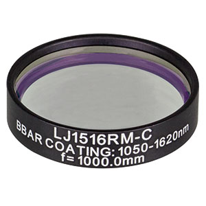LJ1516RM-C - f = 1000.0 mm, Ø1in, N-BK7 Mounted Plano-Convex Round Cyl Lens, ARC: 1050 - 1620 nm