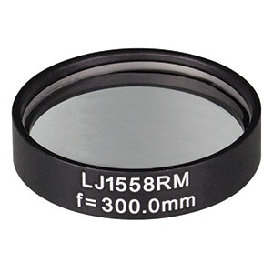 LJ1558RM - f = 300.0 mm, Ø1in, N-BK7 Mounted Plano-Convex Round Cyl Lens