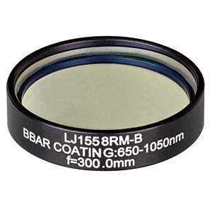 LJ1558RM-B - f = 300.0 mm, Ø1in, N-BK7 Mounted Plano-Convex Round Cyl Lens, ARC: 650 - 1050 nm