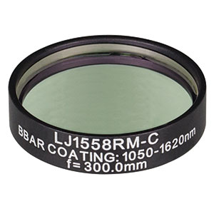 LJ1558RM-C - f = 300.0 mm, Ø1in, N-BK7 Mounted Plano-Convex Round Cyl Lens, ARC: 1050 - 1620 nm