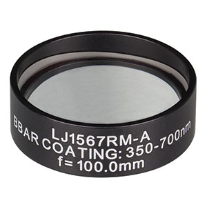 LJ1567RM-A - f = 100.0 mm, Ø1in, N-BK7 Mounted Plano-Convex Round Cyl Lens, ARC 350-700