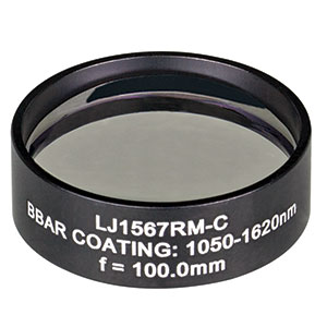 LJ1567RM-C - f = 100.0 mm, Ø1in, N-BK7 Mounted Plano-Convex Round Cyl Lens, ARC: 1050 - 1620 nm