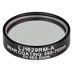LJ1629RM-A - f = 150.0 mm, Ø1in, N-BK7 Mounted Plano-Convex Round Cyl Lens, ARC 350-700