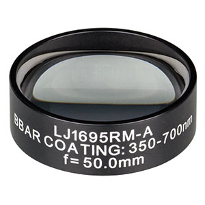 LJ1695RM-A - f = 50.0 mm, Ø1in, N-BK7 Mounted Plano-Convex Round Cyl Lens, ARC 350-700