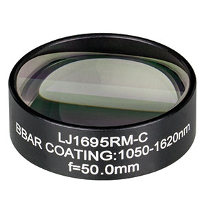 LJ1695RM-C - f = 50.0 mm, Ø1in, N-BK7 Mounted Plano-Convex Round Cyl Lens, ARC: 1050 - 1620 nm