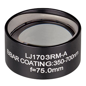 LJ1703RM-A - f = 75.0 mm, Ø1in, N-BK7 Mounted Plano-Convex Round Cyl Lens, ARC 350-700
