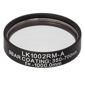 LK1002RM-A - f=-1000.0 mm, Ø1in, N-BK7 Mounted Plano-Concave Round Cyl Lens, ARC: 350 - 700 nm