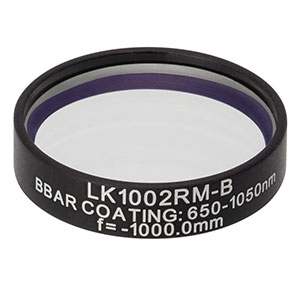 LK1002RM-B - f=-1000.0 mm, Ø1in, N-BK7 Mounted Plano-Concave Round Cyl Lens, ARC: 650 - 1050 nm