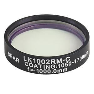 LK1002RM-C - f=-1000.0 mm, Ø1in, N-BK7 Mounted Plano-Concave Round Cyl Lens, ARC: 1050 - 1700 nm