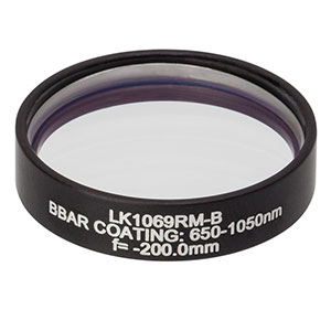 LK1069RM-B - f=-200.0 mm, Ø1in, N-BK7 Mounted Plano-Concave Round Cyl Lens, ARC: 650 - 1050 nm
