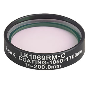 LK1069RM-C - f=-200.0 mm, Ø1in, N-BK7 Mounted Plano-Concave Round Cyl Lens, ARC: 1050 - 1700 nm