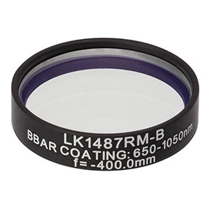 LK1487RM-B - f=-400.0 mm, Ø1in, N-BK7 Mounted Plano-Concave Round Cyl Lens, ARC: 650 - 1050 nm