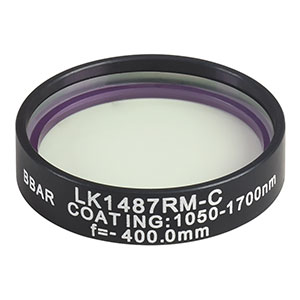 LK1487RM-C - f=-400.0 mm, Ø1in, N-BK7 Mounted Plano-Concave Round Cyl Lens, ARC: 1050 - 1700 nm