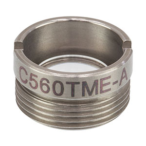 C560TME-A - f = 13.86 mm, NA = 0.18, Mounted Aspheric Lens, ARC: 350 - 700 nm