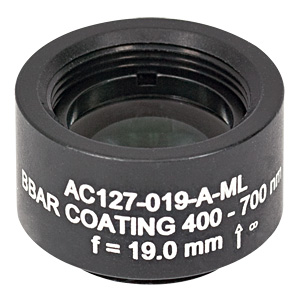 AC127-019-A-ML - f=19 mm, Ø1/2in Achromatic Doublet, SM05-Threaded Mount, ARC: 400-700 nm