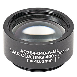 AC254-040-A-ML - f=40 mm, Ø1in Achromatic Doublet, SM1-Threaded Mount, ARC: 400-700 nm