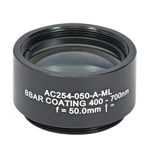 AC254-050-A-ML - f=50 mm, Ø1in Achromatic Doublet, SM1-Threaded Mount, ARC: 400-700 nm