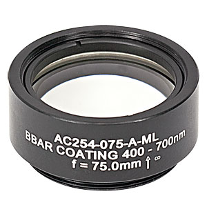 AC254-075-A-ML - f=75 mm, Ø1in Achromatic Doublet, SM1-Threaded Mount, ARC: 400-700 nm