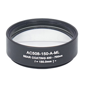 AC508-150-A-ML - f=150 mm, Ø2in Achromatic Doublet, SM2-Threaded Mount, ARC: 400-700 nm