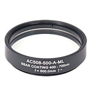 AC508-500-A-ML - f=500 mm, Ø2in Achromatic Doublet, SM2-Threaded Mount, ARC: 400-700 nm