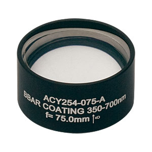 ACY254-075-A - f = 75 mm, Ø1in Cylindrical Achromat, AR Coating: 350 - 700 nm