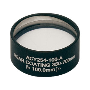 ACY254-100-A - f = 100.0 mm, Ø1in Cylindrical Achromat, AR Coating: 350 - 700 nm