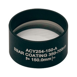 ACY254-150-A - f = 150.0 mm, Ø1in Cylindrical Achromat, AR Coating: 350 - 700 nm