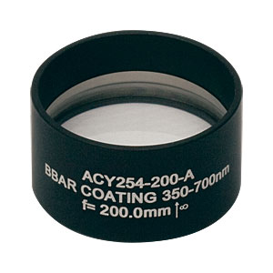 ACY254-200-A - f = 200.0 mm, Ø1in Cylindrical Achromat, AR Coating: 350 - 700 nm