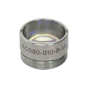 AC080-010-B-ML - f=10 mm, Ø8 mm Achromatic Doublet, M12x0.5 Threaded Mount, ARC: 650-1050