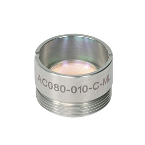 AC080-010-C-ML - f=10 mm, Ø8 mm Achromatic Doublet, M12x0.5 Threaded Mount, ARC: 1050-1620 nm