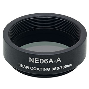 NE06A-A - Ø25 mm AR-Coated Absorptive Neutral Density Filter, SM1-Threaded Mount, 350-700 nm, OD: 0.6