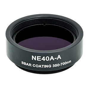 NE40A-A - Ø25 mm AR-Coated Absorptive Neutral Density Filter, SM1-Threaded Mount, 350-700 nm, OD: 4.0