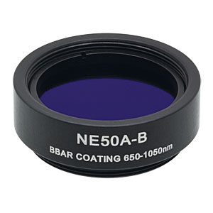 NE50A-B - Ø25 mm Absorptive Neutral Density Filter, ARC: 650-1050 nm, SM1-Threaded Mount, OD: 5.0