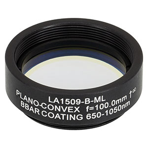 LA1509-B-ML - Ø1in N-BK7 Plano-Convex Lens, SM1-Threaded Mount, f = 100 mm, ARC: 650-1050 nm